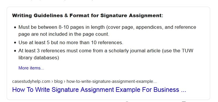 signature assignment writing guidelines and format