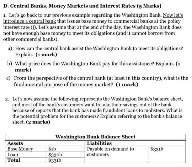 Central Banks, Money Markets and Interest Rates