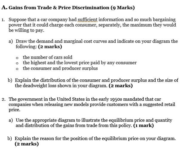 Gains from Trade & Price Discrimination