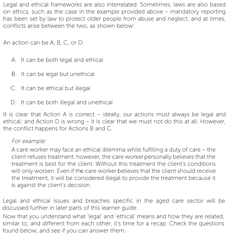 legal and ethical framework A