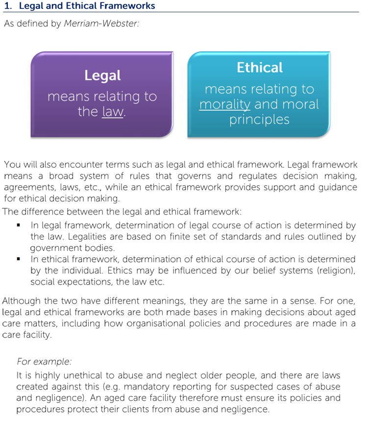 legal and ethical freamework